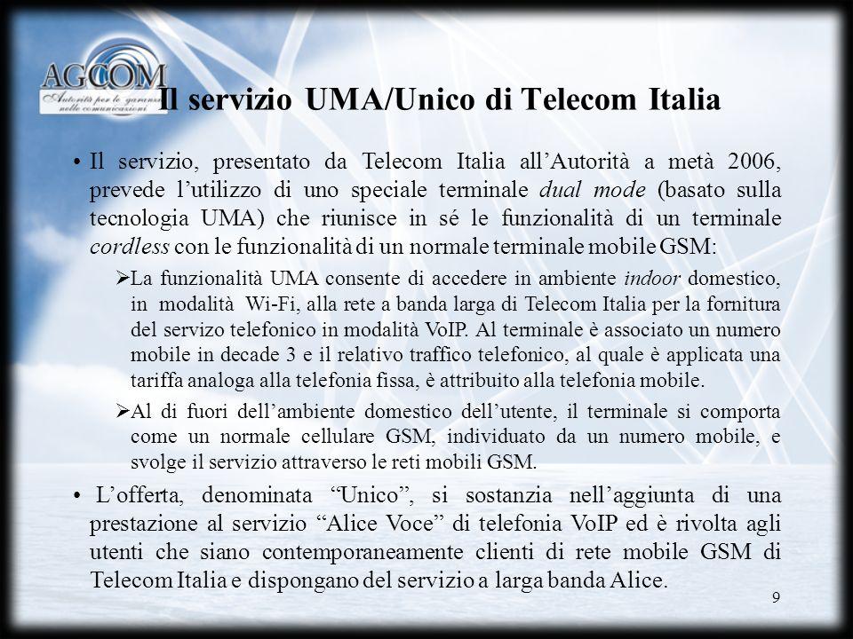 9 Il servizio UMA/Unico di Telecom Italia Il servizio, presentato da Telecom Italia allAutorità a metà 2006, prevede lutilizzo di uno speciale termina