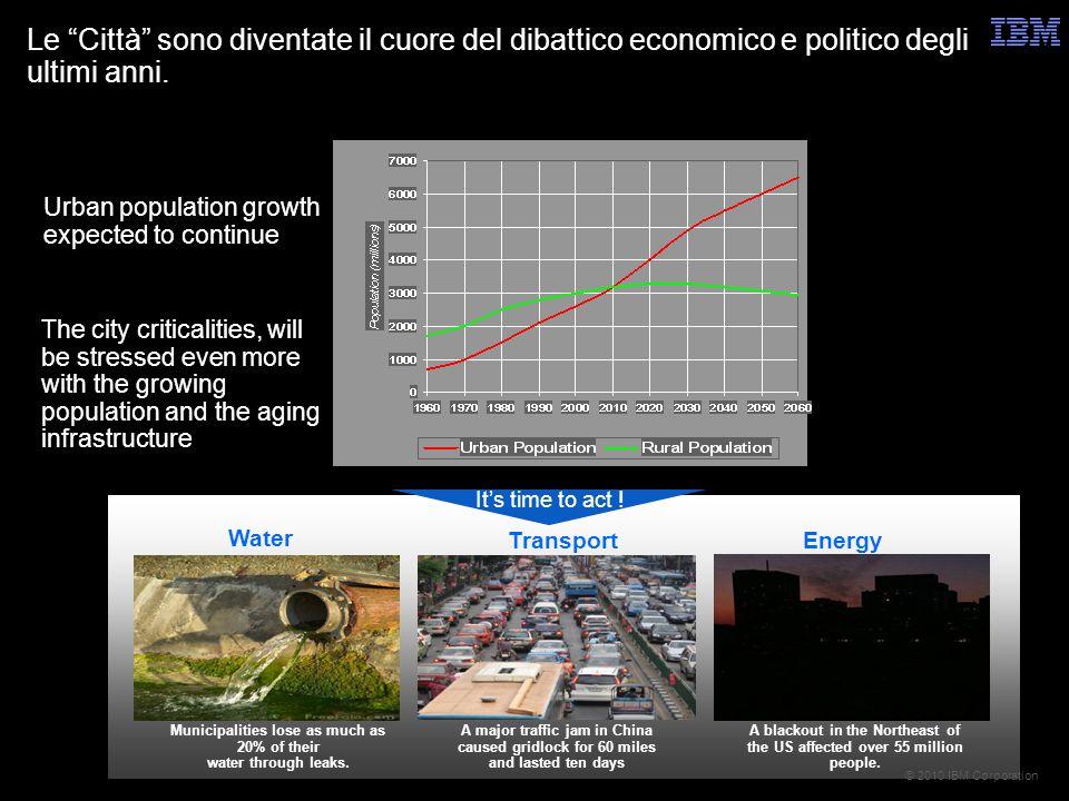 © 2010 IBM Corporation Le Città sono diventate il cuore del dibattico economico e politico degli ultimi anni.