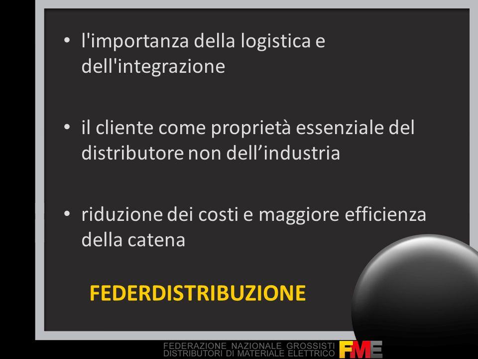 FEDERDISTRIBUZIONE l'importanza della logistica e dell'integrazione il cliente come proprietà essenziale del distributore non dellindustria riduzione