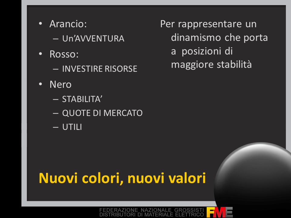 Nuovi colori, nuovi valori Arancio: – UnAVVENTURA Rosso: – INVESTIRE RISORSE Nero – STABILITA – QUOTE DI MERCATO – UTILI Per rappresentare un dinamism