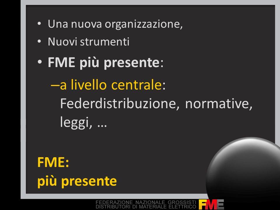 FME: più presente Una nuova organizzazione, Nuovi strumenti FME più presente: – a livello centrale: Federdistribuzione, normative, leggi, …