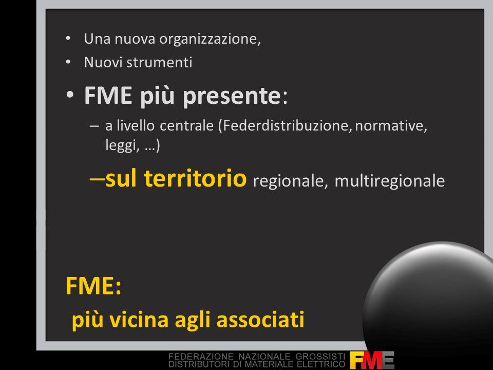 FME: più vicina agli associati Una nuova organizzazione, Nuovi strumenti FME più presente: – a livello centrale (Federdistribuzione, normative, leggi,