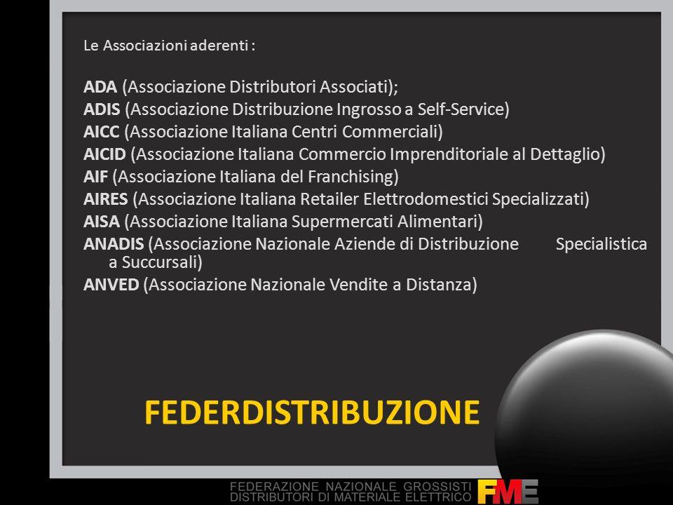 FEDERDISTRIBUZIONE Le Associazioni aderenti : ADA (Associazione Distributori Associati); ADIS (Associazione Distribuzione Ingrosso a Self-Service) AIC