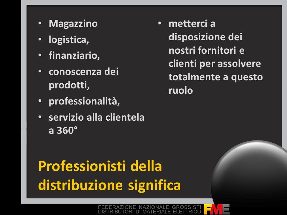 Professionisti della distribuzione significa Magazzino logistica, finanziario, conoscenza dei prodotti, professionalità, servizio alla clientela a 360