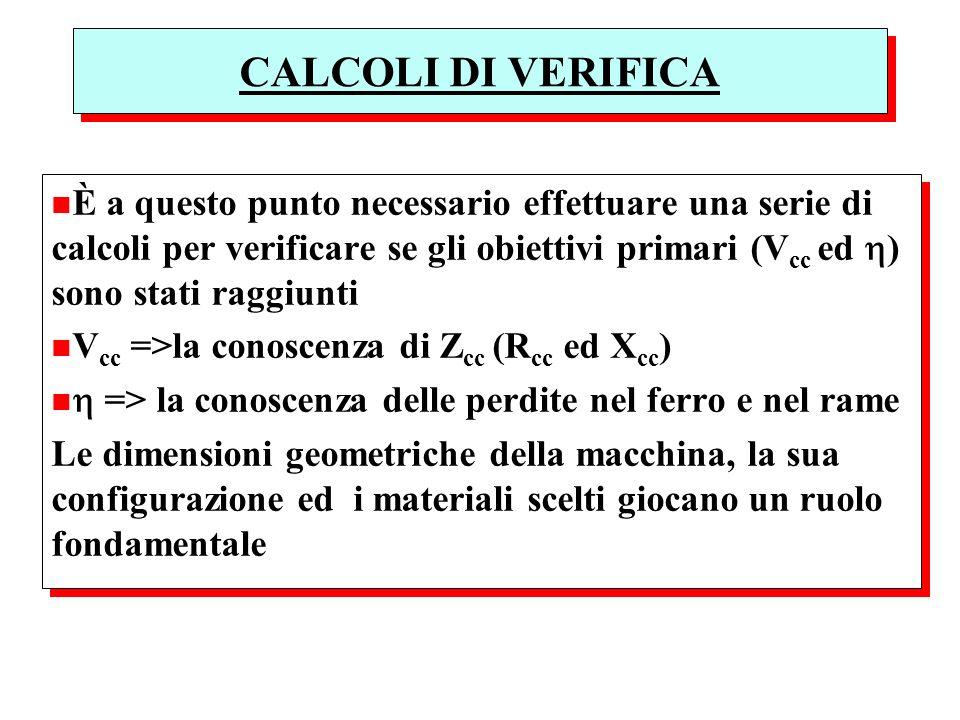 CALCOLI DI VERIFICA n È a questo punto necessario effettuare una serie di calcoli per verificare se gli obiettivi primari (V cc ed ) sono stati raggiu