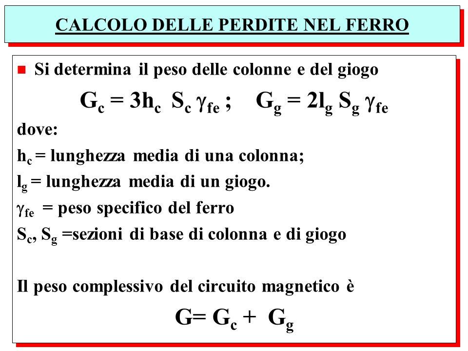 CALCOLO DELLE PERDITE NEL FERRO n Si determina il peso delle colonne e del giogo G c = 3h c S c fe ; G g = 2l g S g fe dove: h c = lunghezza media di