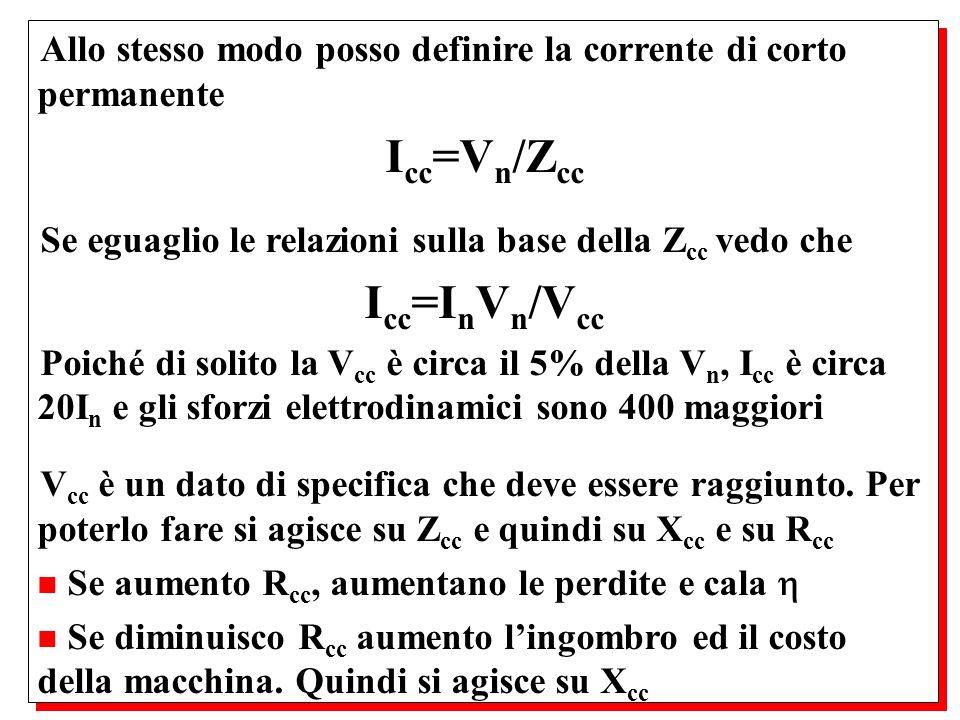 Allo stesso modo posso definire la corrente di corto permanente I cc =V n /Z cc Se eguaglio le relazioni sulla base della Z cc vedo che I cc =I n V n
