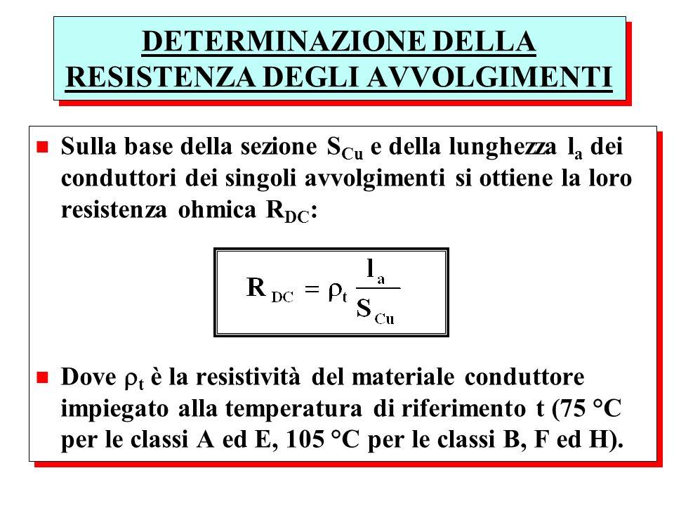 DETERMINAZIONE DELLA RESISTENZA DEGLI AVVOLGIMENTI n Sulla base della sezione S Cu e della lunghezza l a dei conduttori dei singoli avvolgimenti si ot