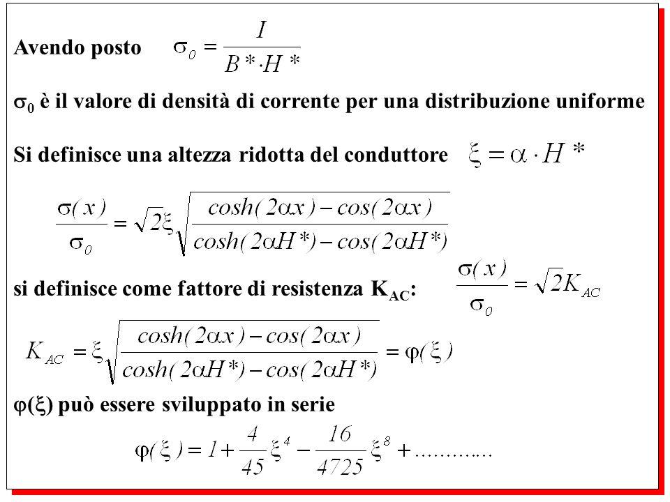 Avendo posto 0 è il valore di densità di corrente per una distribuzione uniforme Si definisce una altezza ridotta del conduttore si definisce come fat