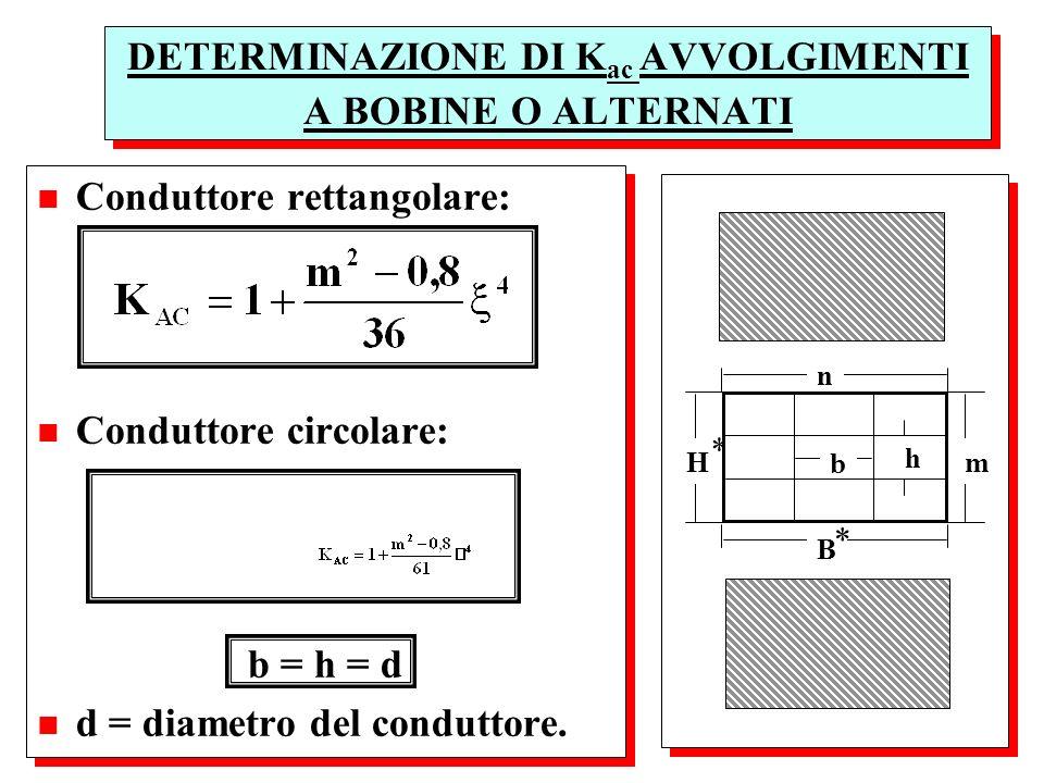 n Conduttore rettangolare: n Conduttore circolare: b = h = d n d = diametro del conduttore. n Conduttore rettangolare: n Conduttore circolare: b = h =