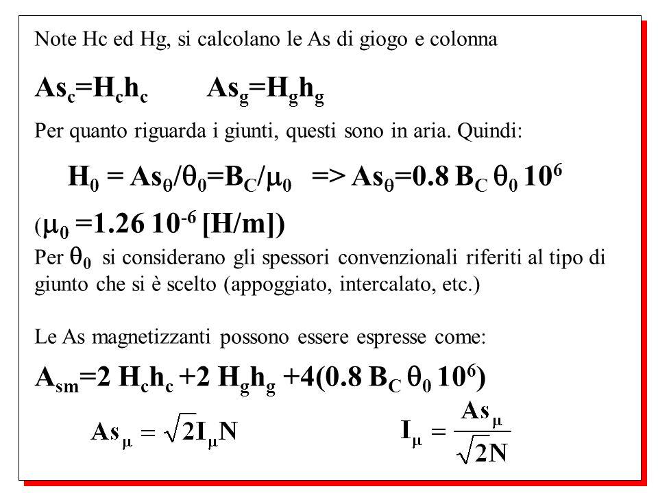 Note Hc ed Hg, si calcolano le As di giogo e colonna As c =H c h c As g =H g h g Per quanto riguarda i giunti, questi sono in aria. Quindi: H 0 = As /