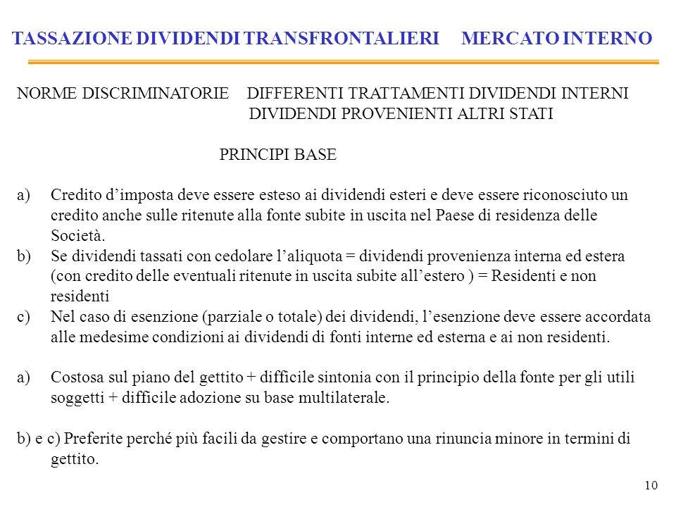 10 TASSAZIONE DIVIDENDI TRANSFRONTALIERI MERCATO INTERNO NORME DISCRIMINATORIE DIFFERENTI TRATTAMENTI DIVIDENDI INTERNI DIVIDENDI PROVENIENTI ALTRI ST