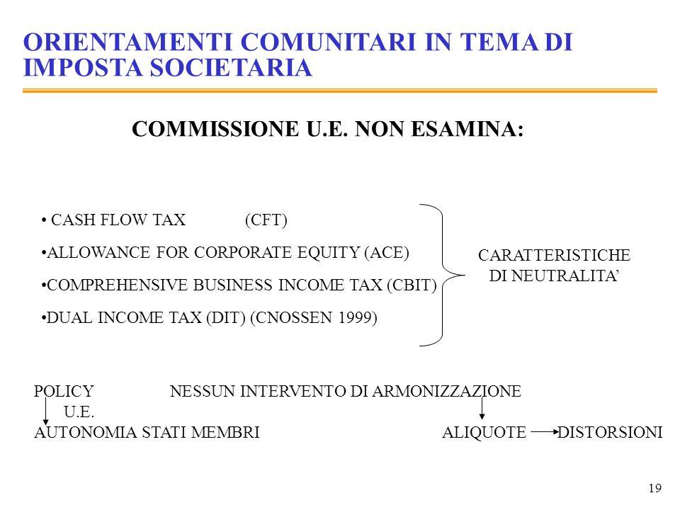 19 ORIENTAMENTI COMUNITARI IN TEMA DI IMPOSTA SOCIETARIA COMMISSIONE U.E. NON ESAMINA: CASH FLOW TAX(CFT) ALLOWANCE FOR CORPORATE EQUITY (ACE) COMPREH