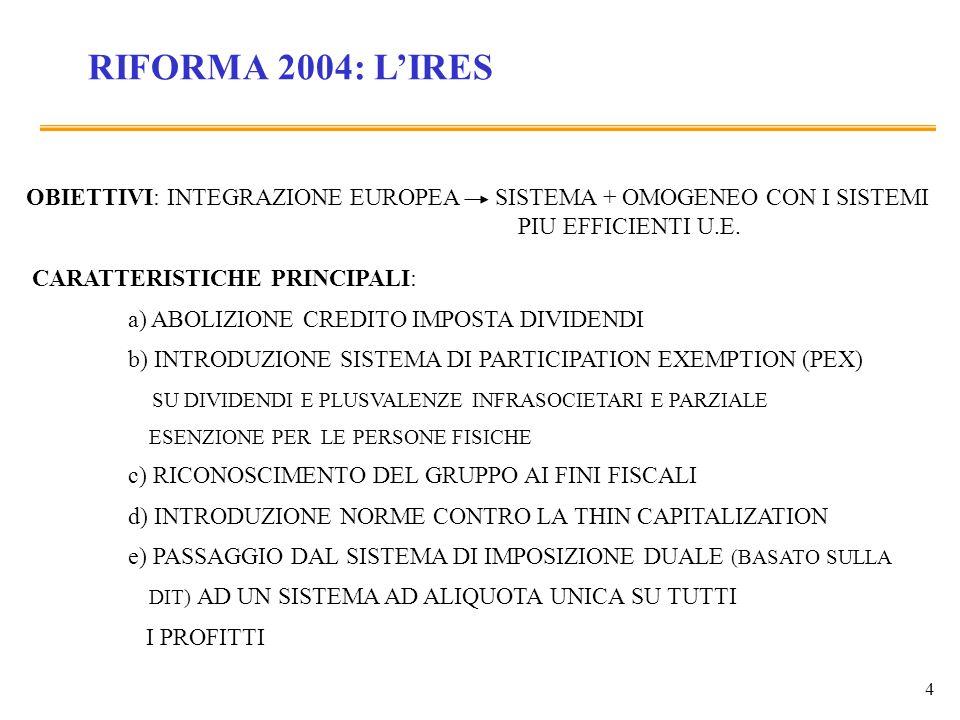 4 RIFORMA 2004: LIRES OBIETTIVI: INTEGRAZIONE EUROPEA SISTEMA + OMOGENEO CON I SISTEMI PIU EFFICIENTI U.E. CARATTERISTICHE PRINCIPALI: a) ABOLIZIONE C