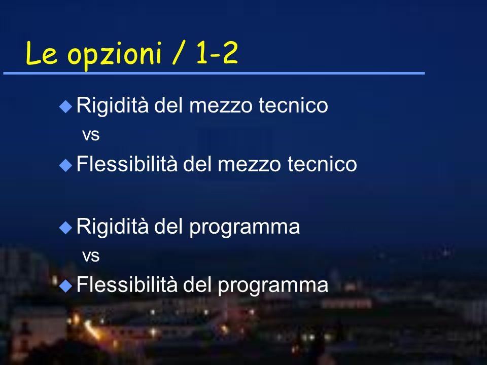 Le opzioni / 1-2 u Rigidità del mezzo tecnico vs u Flessibilità del mezzo tecnico u Rigidità del programma vs u Flessibilità del programma