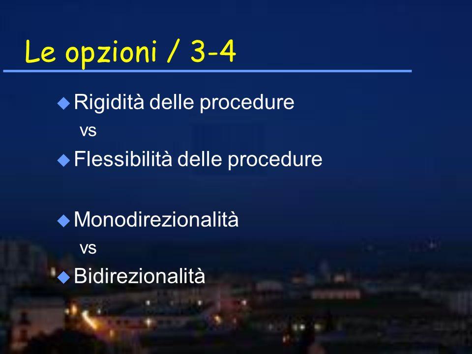 Le opzioni / 3-4 u Rigidità delle procedure vs u Flessibilità delle procedure u Monodirezionalità vs u Bidirezionalità