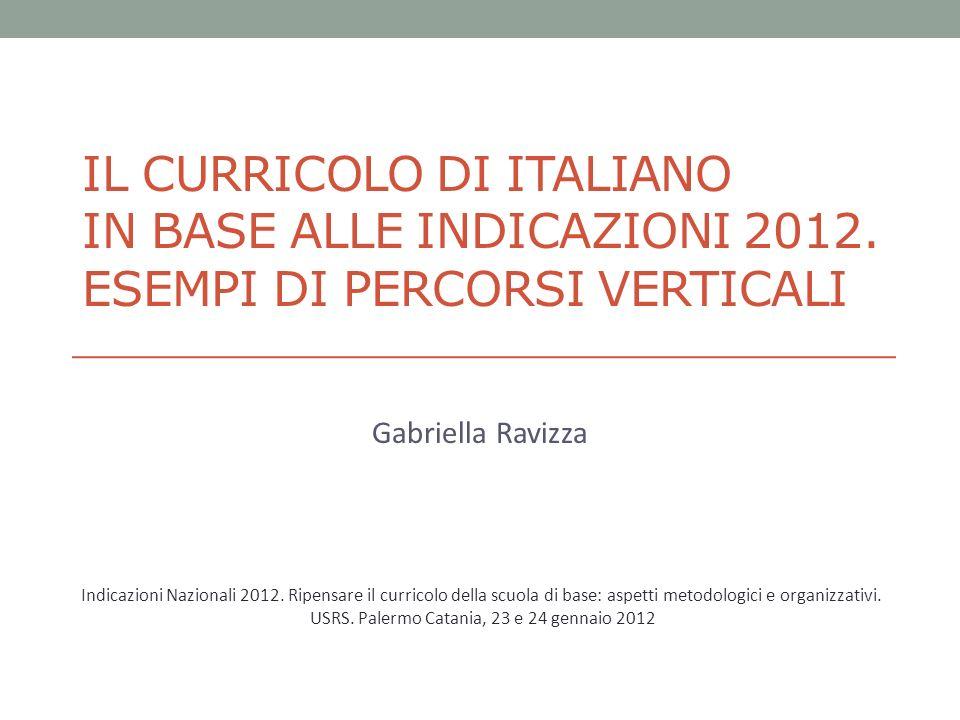 IL CURRICOLO DI ITALIANO IN BASE ALLE INDICAZIONI 2012. ESEMPI DI PERCORSI VERTICALI Gabriella Ravizza Indicazioni Nazionali 2012. Ripensare il curric