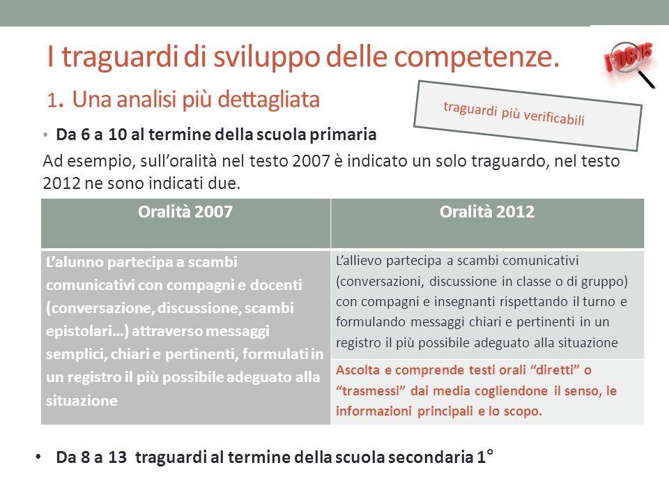 I traguardi di sviluppo delle competenze. 1. Una analisi più dettagliata Da 6 a 10 al termine della scuola primaria Ad esempio, sulloralità nel testo