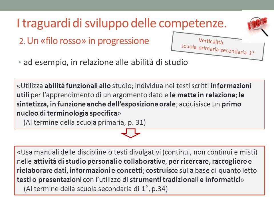 I traguardi di sviluppo delle competenze. 2. Un «filo rosso» in progressione ad esempio, in relazione alle abilità di studio Verticalità scuola primar