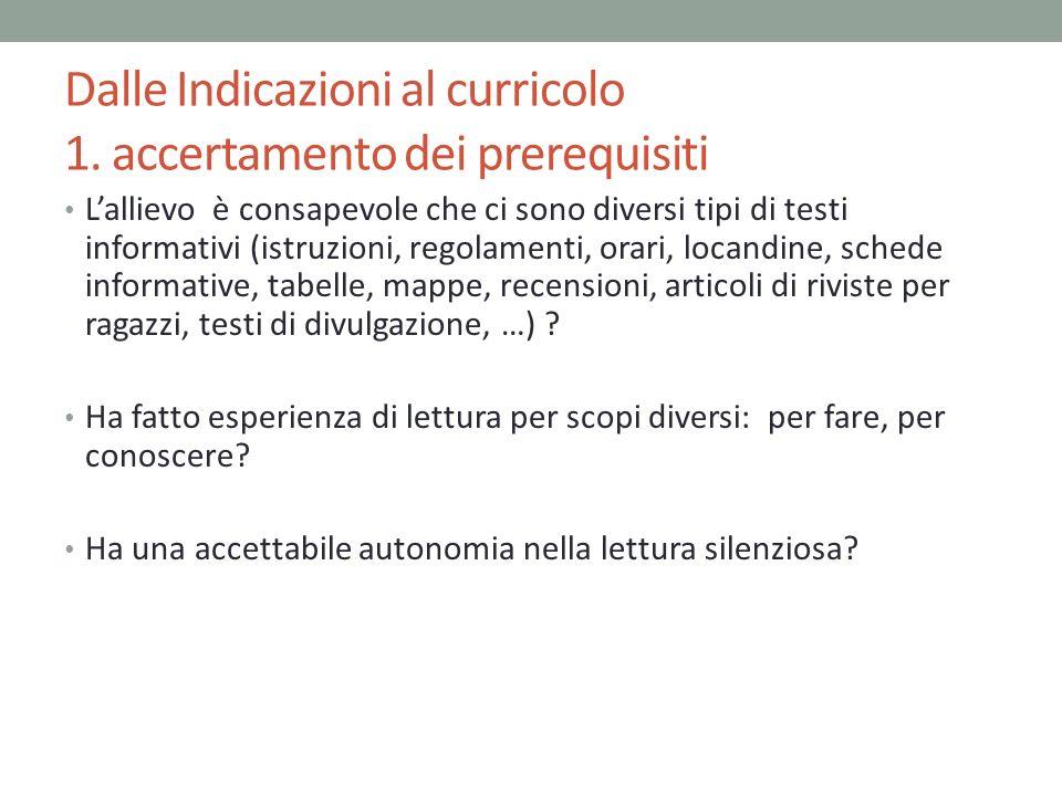 Dalle Indicazioni al curricolo 1. accertamento dei prerequisiti Lallievo è consapevole che ci sono diversi tipi di testi informativi (istruzioni, rego