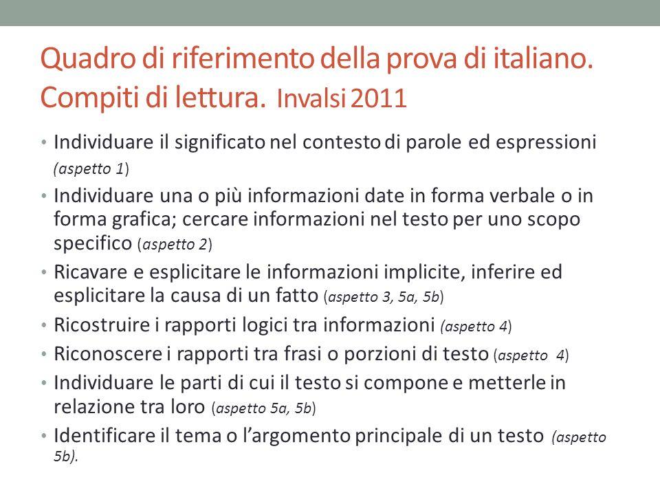 Quadro di riferimento della prova di italiano. Compiti di lettura. Invalsi 2011 Individuare il significato nel contesto di parole ed espressioni (aspe