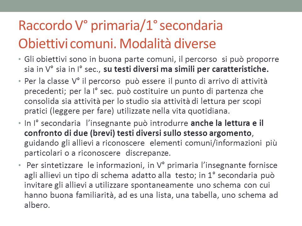 Raccordo V° primaria/1° secondaria Obiettivi comuni. Modalità diverse Gli obiettivi sono in buona parte comuni, il percorso si può proporre sia in V°