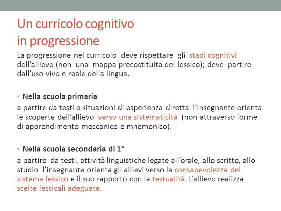 Un curricolo cognitivo in progressione La progressione nel curricolo deve rispettare gli stadi cognitivi dellallievo (non una mappa precostituita del