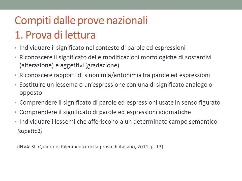 Compiti dalle prove nazionali 1. Prova di lettura Individuare il significato nel contesto di parole ed espressioni Riconoscere il significato delle mo