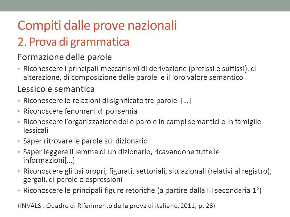 Compiti dalle prove nazionali 2. Prova di grammatica Formazione delle parole Riconoscere i principali meccanismi di derivazione (prefissi e suffissi),