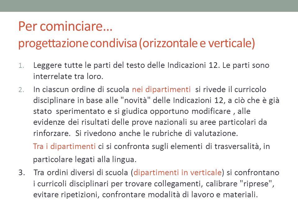 Per cominciare… progettazione condivisa (orizzontale e verticale) 1. Leggere tutte le parti del testo delle Indicazioni 12. Le parti sono interrelate