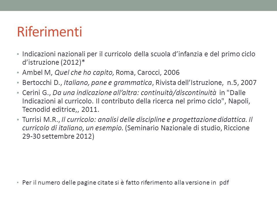 Riferimenti Indicazioni nazionali per il curricolo della scuola dinfanzia e del primo ciclo distruzione (2012)* Ambel M, Quel che ho capito, Roma, Car