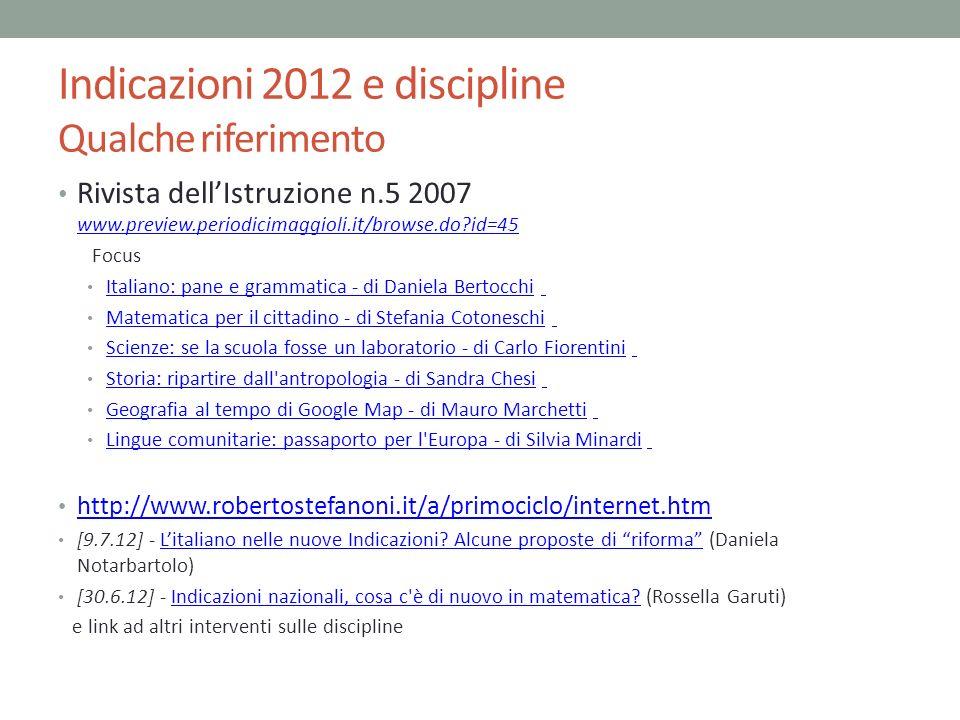 Indicazioni 2012 e discipline Qualche riferimento Rivista dellIstruzione n.5 2007 www.preview.periodicimaggioli.it/browse.do?id=45 www.preview.periodi