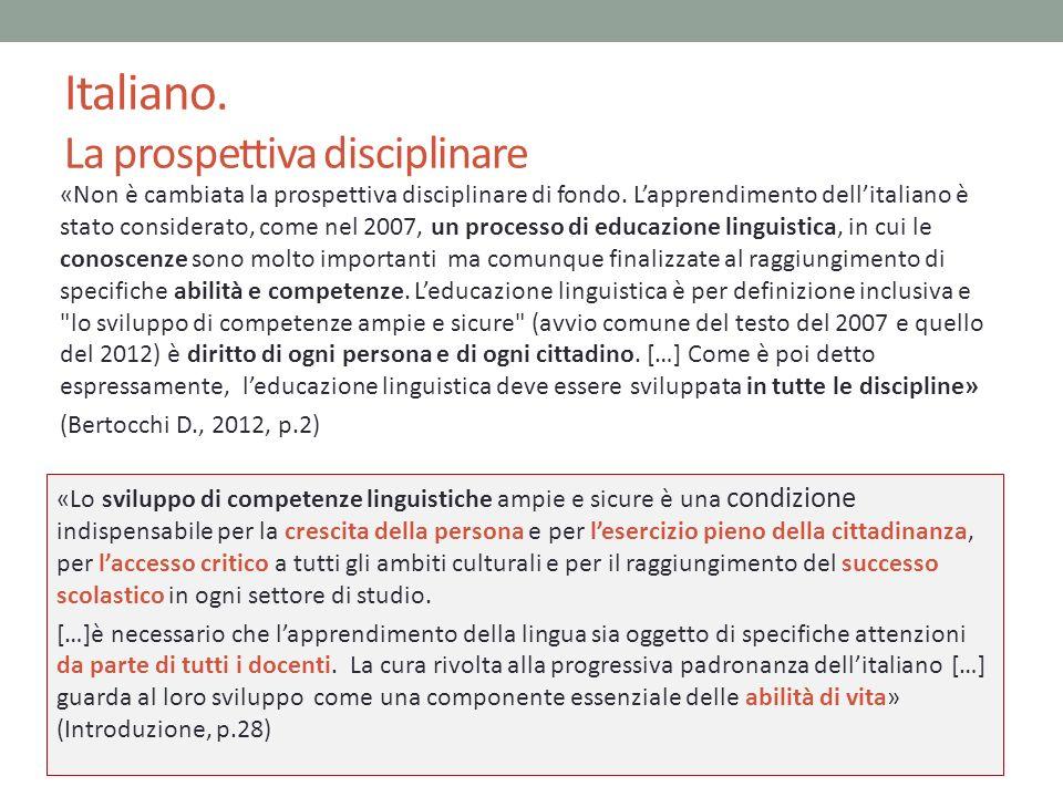 Italiano. La prospettiva disciplinare «Non è cambiata la prospettiva disciplinare di fondo. Lapprendimento dellitaliano è stato considerato, come nel