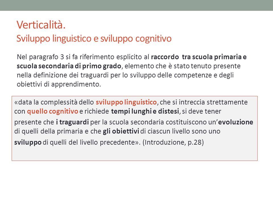 Verticalità. Sviluppo linguistico e sviluppo cognitivo «data la complessità dello sviluppo linguistico, che si intreccia strettamente con quello cogni