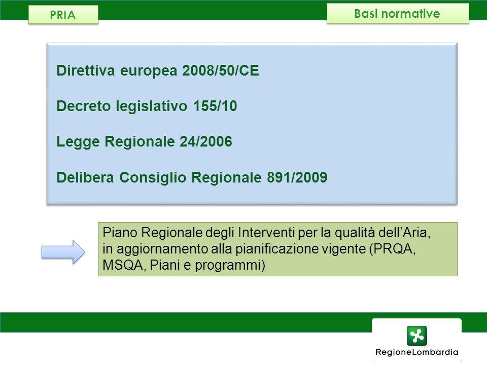 AMBIENTE, ENERGIA E RETI Direttiva europea 2008/50/CE Decreto legislativo 155/10 Legge Regionale 24/2006 Delibera Consiglio Regionale 891/2009 Diretti