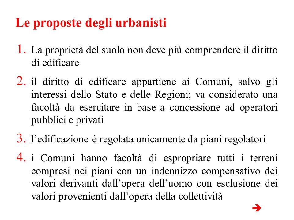 Le proposte degli urbanisti 1. La proprietà del suolo non deve più comprendere il diritto di edificare 2. il diritto di edificare appartiene ai Comuni
