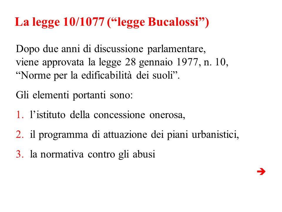 La legge 10/1077 (legge Bucalossi) Dopo due anni di discussione parlamentare, viene approvata la legge 28 gennaio 1977, n. 10, Norme per la edificabil