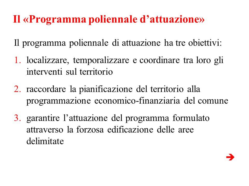 Il «Programma poliennale dattuazione» Il programma poliennale di attuazione ha tre obiettivi: 1.localizzare, temporalizzare e coordinare tra loro gli