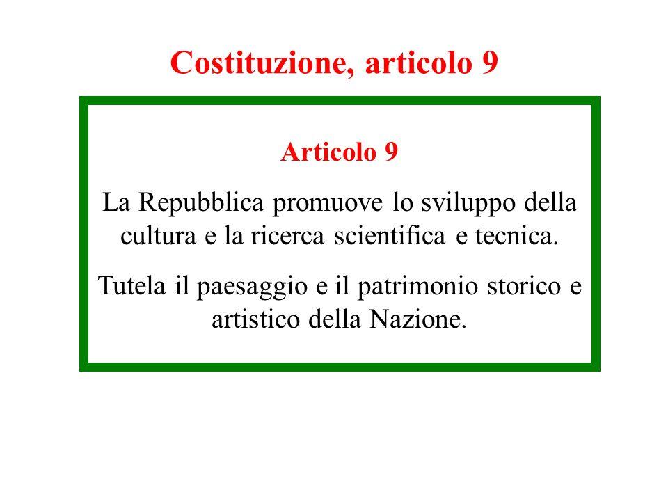 Costituzione, articolo 9 Articolo 9 La Repubblica promuove lo sviluppo della cultura e la ricerca scientifica e tecnica. Tutela il paesaggio e il patr