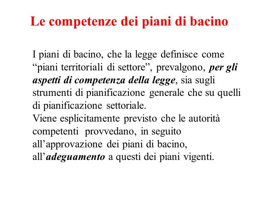 Le competenze dei piani di bacino I piani di bacino, che la legge definisce come piani territoriali di settore, prevalgono, per gli aspetti di compete