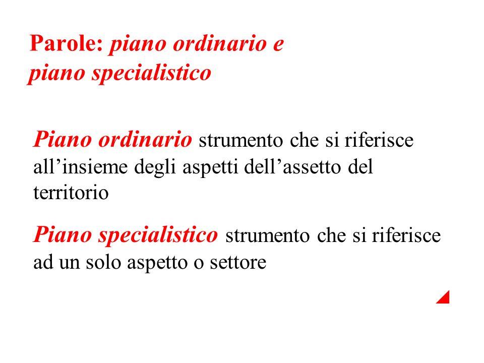 Parole: piano ordinario e piano specialistico Piano ordinario strumento che si riferisce allinsieme degli aspetti dellassetto del territorio Piano spe
