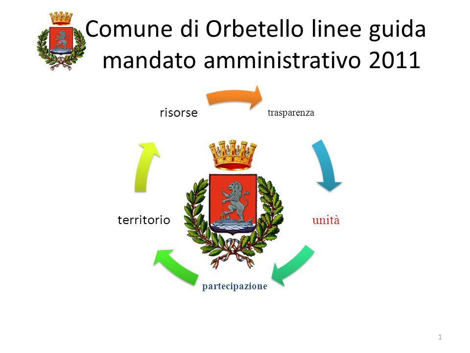 Comune di Orbetello linee guida mandato amministrativo 2011 trasparenza unità partecipazione territorio risorse 1