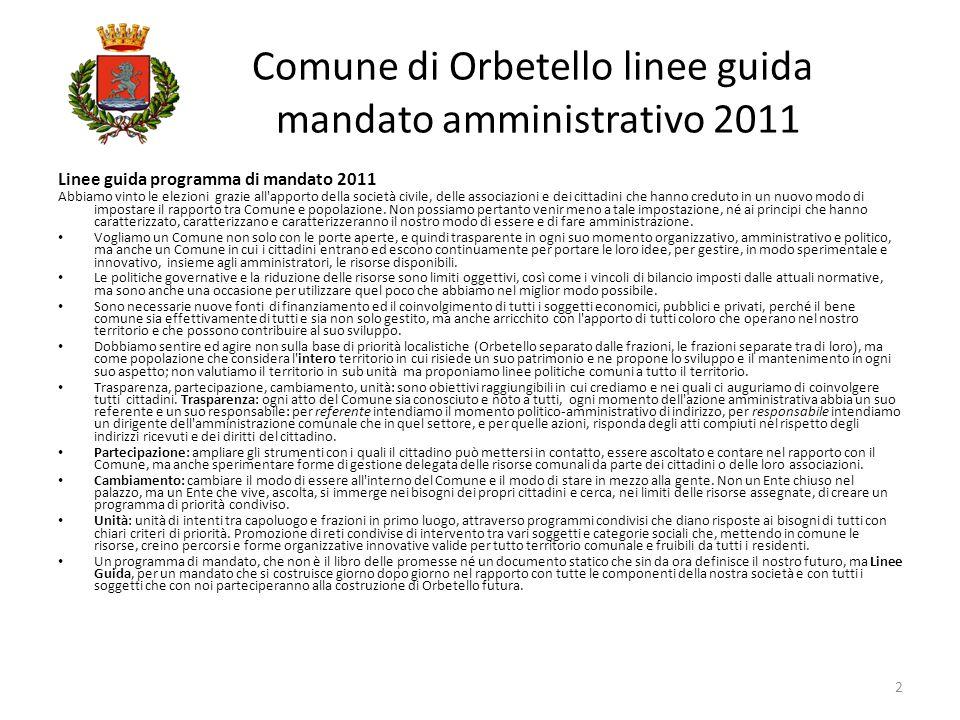 Linee guida programma di mandato 2011 Abbiamo vinto le elezioni grazie all'apporto della società civile, delle associazioni e dei cittadini che hanno