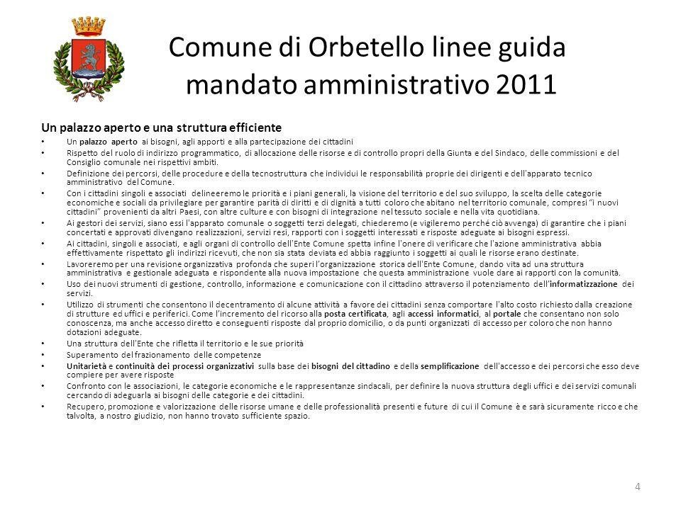 Comune di Orbetello linee guida mandato amministrativo 2011 Progetto unitario di utilizzo associazioniutenterisorsespazi 15 Il Patrimonio pubblico è di ognuno di noi.