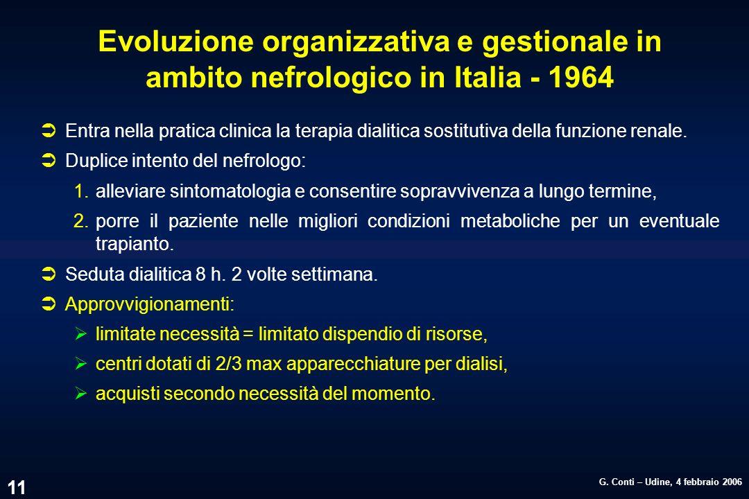 G. Conti – Udine, 4 febbraio 2006 11 Evoluzione organizzativa e gestionale in ambito nefrologico in Italia - 1964 ÜEntra nella pratica clinica la tera