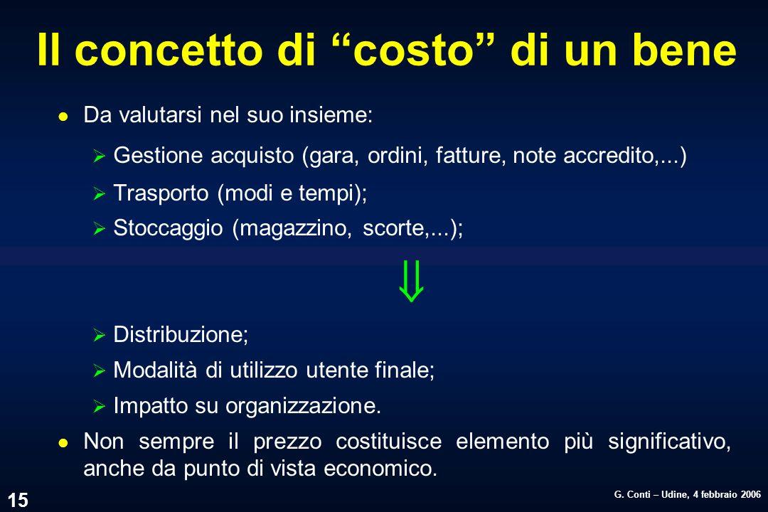 G. Conti – Udine, 4 febbraio 2006 15 Il concetto di costo di un bene l Da valutarsi nel suo insieme: Gestione acquisto (gara, ordini, fatture, note ac