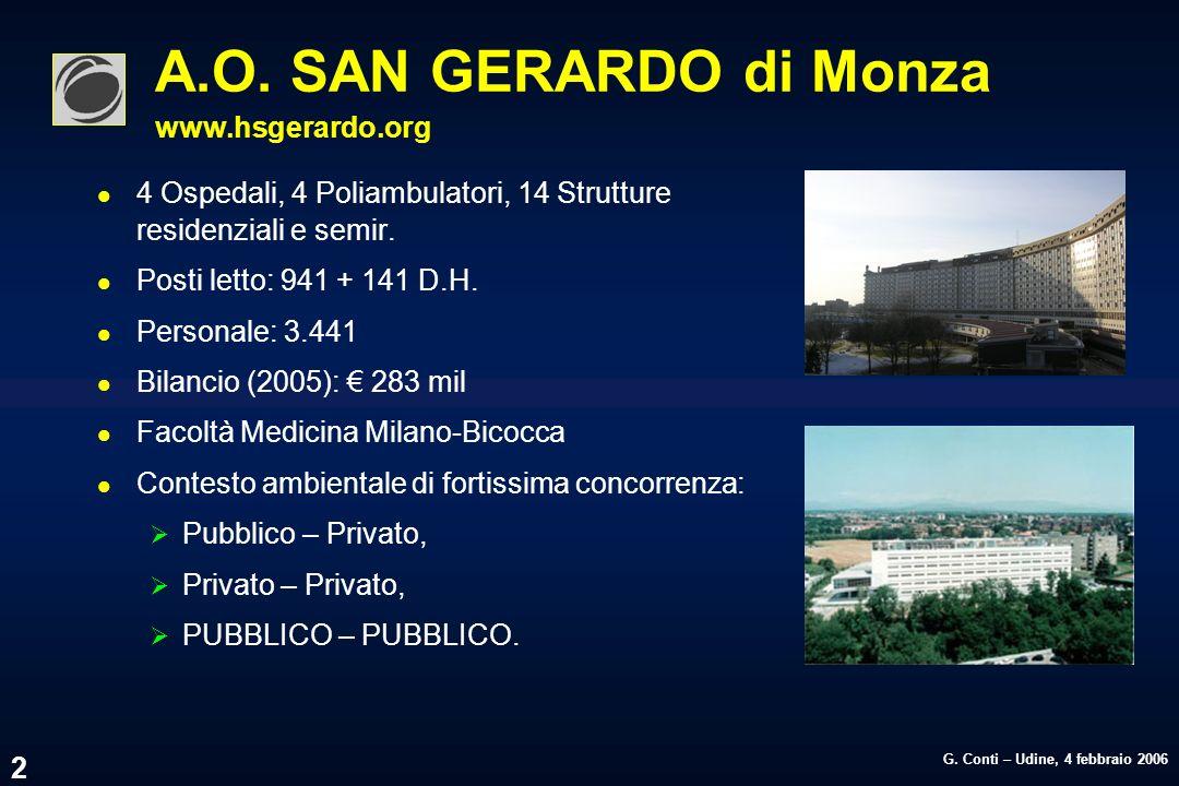 G. Conti – Udine, 4 febbraio 2006 2 A.O. SAN GERARDO di Monza www.hsgerardo.org l 4 Ospedali, 4 Poliambulatori, 14 Strutture residenziali e semir. l P