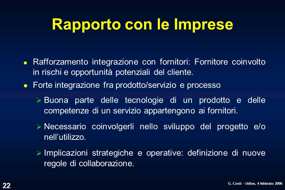 G. Conti – Udine, 4 febbraio 2006 22 Rapporto con le Imprese l Rafforzamento integrazione con fornitori: Fornitore coinvolto in rischi e opportunità p