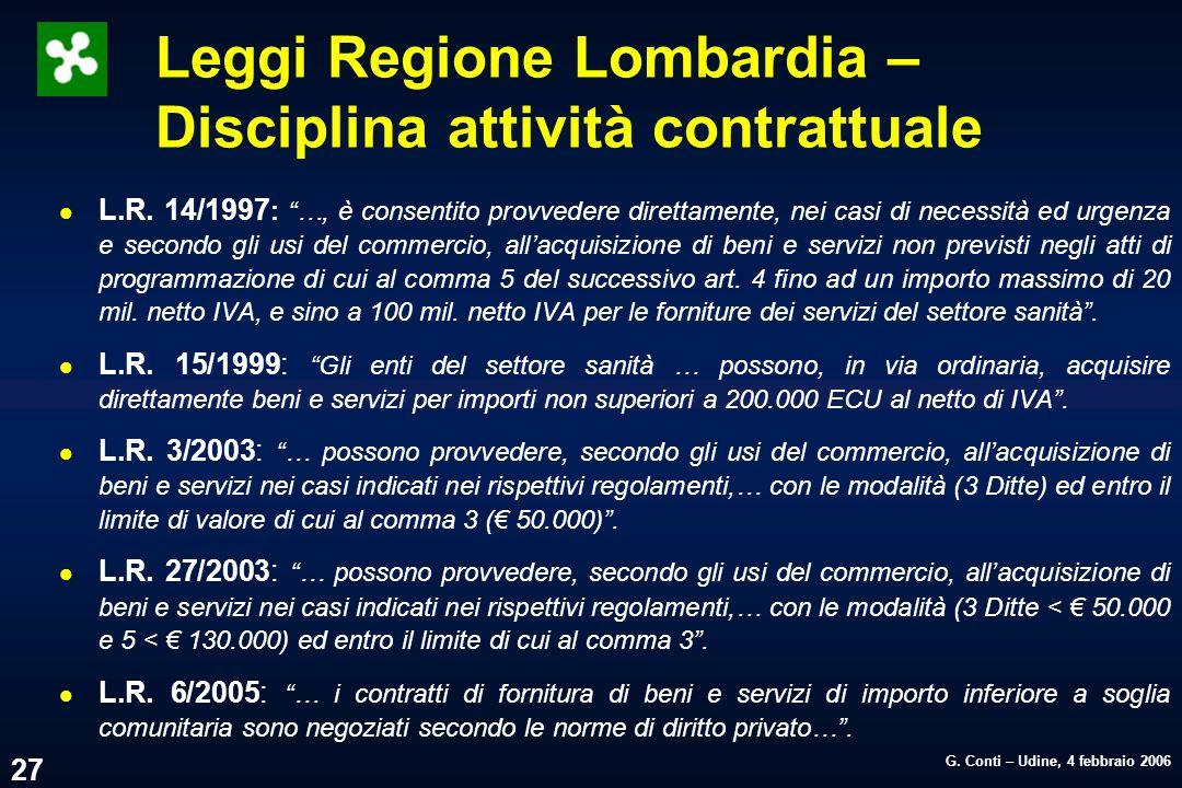 G. Conti – Udine, 4 febbraio 2006 27 Leggi Regione Lombardia – Disciplina attività contrattuale l L.R. 14/1997 : …, è consentito provvedere direttamen