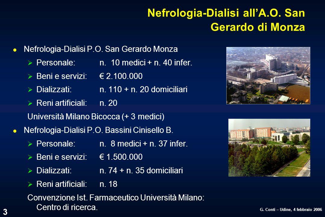 G. Conti – Udine, 4 febbraio 2006 3 Nefrologia-Dialisi allA.O. San Gerardo di Monza l Nefrologia-Dialisi P.O. San Gerardo Monza Personale:n. 10 medici